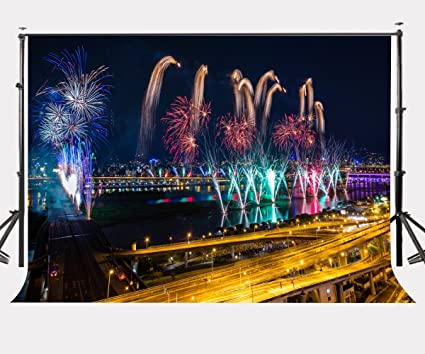 lylycty 7x5ft city night view backdrop colorful burning fireworks photography background 2018 new year celebration party