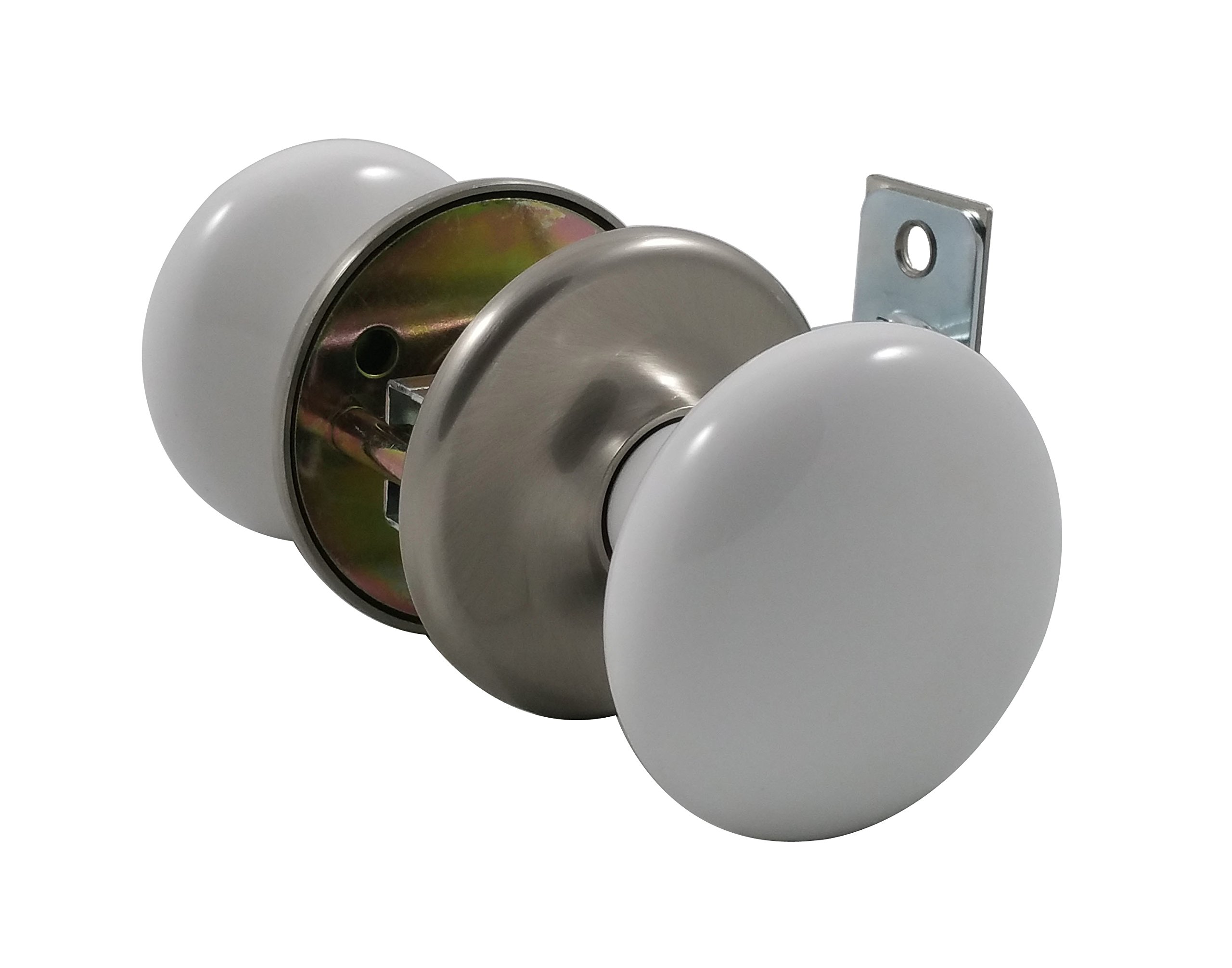 White Porcelain & Brushed Nickel Door Knob, Solid Elegant Door Knob Set with No Visible Screws for a Crisp Clean Finish (Passage 2-3/8'')