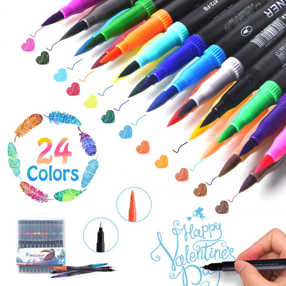 24 Pack Brush and Fine Tip Art Markers for Hand Lettering Coloring Book Sketching Taking Writing Planning Art Project Calligraphy Point Coloring Marker Ink Pens Dual Markers Brush Pen