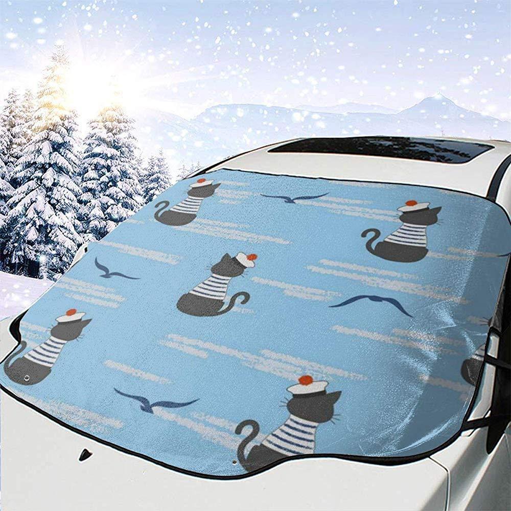N//A Kapit/än Katze Auto Windschutzscheibe Abdeckung Auto Frontscheibe Shades Protector passt alle 4 Saison Sonnenschutzblenden 147 x 118 cm