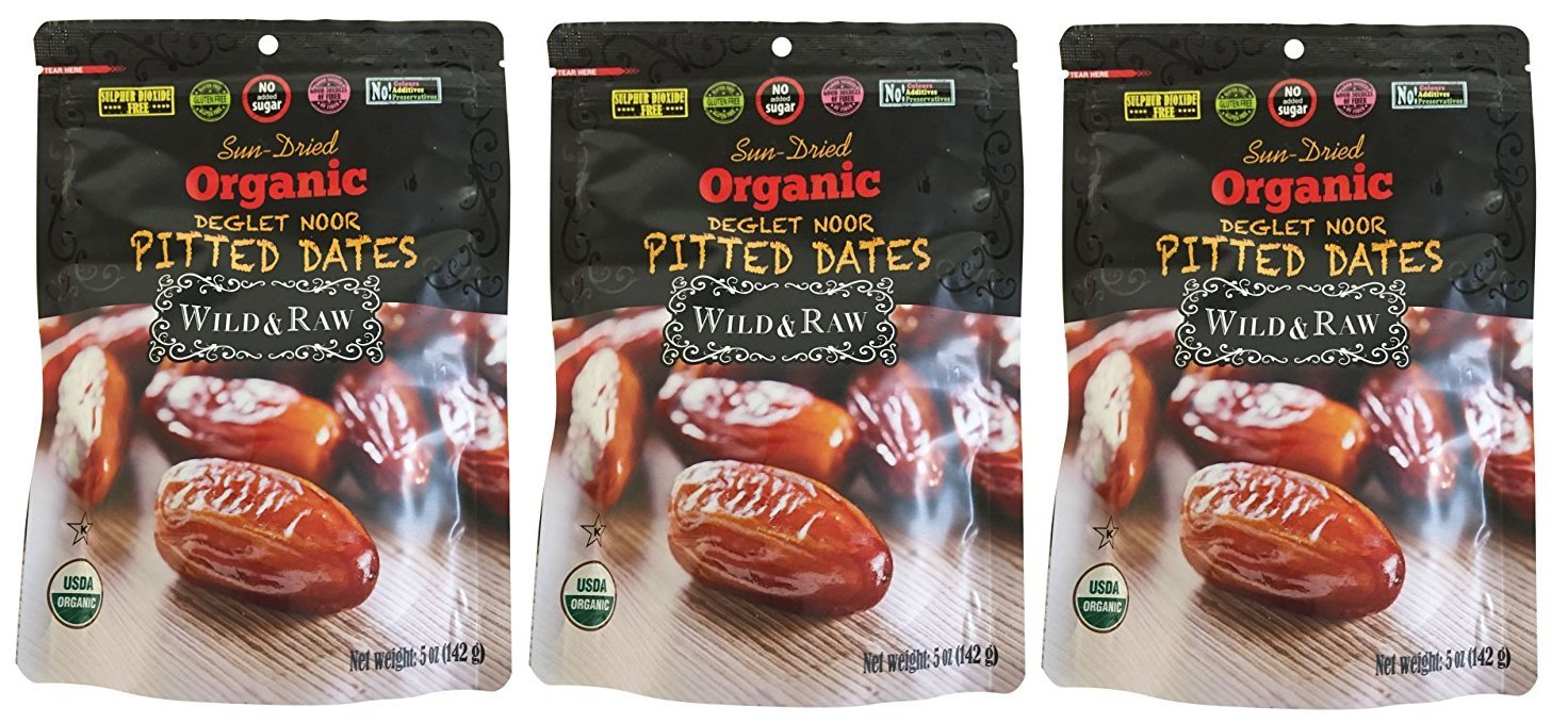 Sun Dried Organic Deglet Nour Pitted Dates | Wild & Raw | 5 oz | 3 Pack