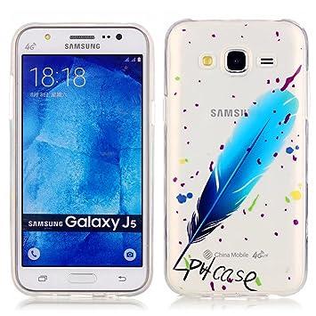 Funda Case KSHOP Para Samsung Galaxy J5(2015) Case Cover Carcasa Suave Flexible TPU Silicona gel Forro Delgada prevención de caídas - pulma azul