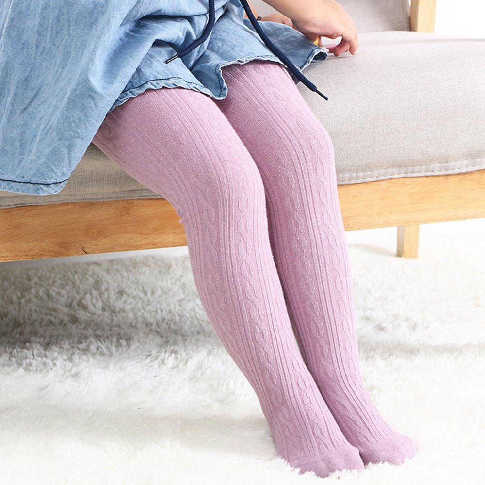 LANBAOSI Cute Baby Girls Knit Tights Infant Leggings Footed Stocking Pants 18K01W-3Pack