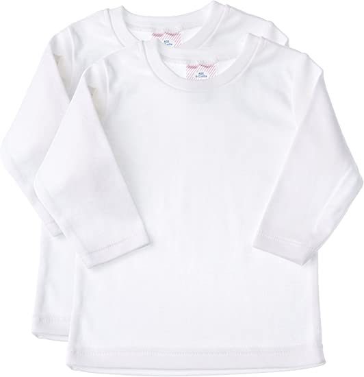 White Unisex Baby and Toddler Soft Cotton Tee Baby Jay Long Sleeved Undershirt 3 Pack Boys and Girls T Shirt