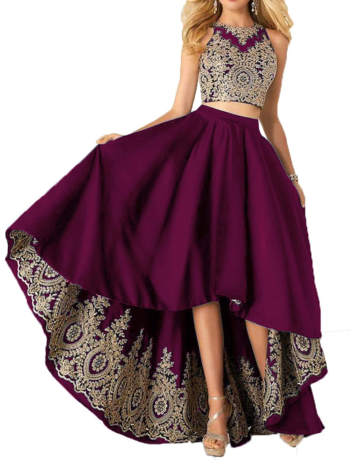 Fuchsia Udresses Two Piece Homecoming Satin Dress Aline Applique Lace Formal Prom Gowns