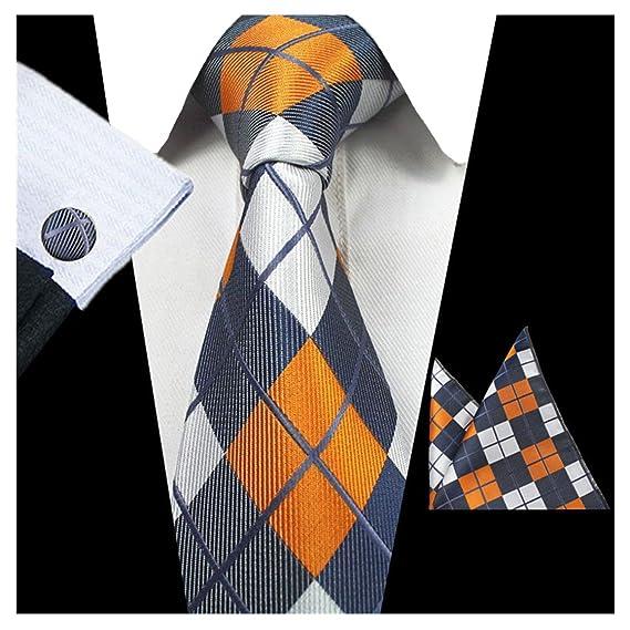 1960s Men's Ties   Skinny Ties, Slim Ties JEMYGINS Classic Formal Necktie Plaid Tie and Pocket Square Cufflink Set for Men $9.99 AT vintagedancer.com