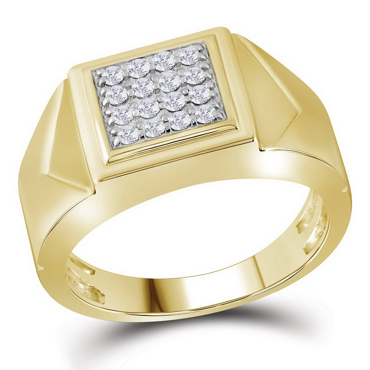 10K Yellow Gold Mens Square Cluster Genuine Diamond Pinky Ring Band 1/3 CT (I2-I3 clarity; G-H color)