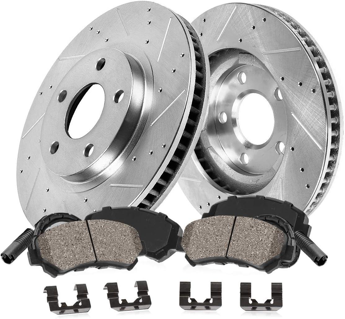 S400 Rear Drill Slot Brake Rotors+Ceramic Pads S550 Fits Mercedes-Benz CL550