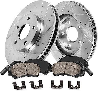 E350 Rear Drilled Brake Rotors+Ceramic Pads Fit 2008-2014 Mercedes-Benz C350