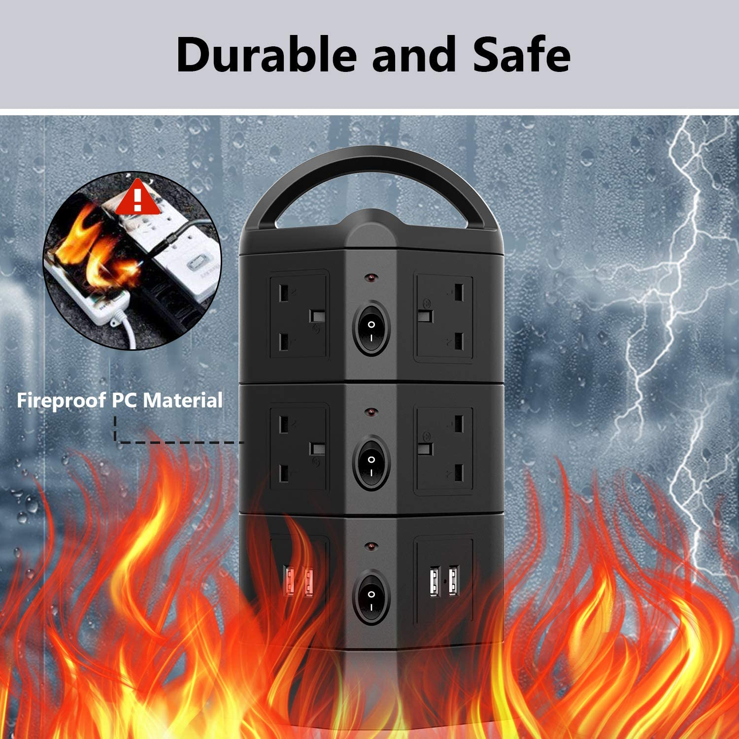 MiiKARE Flat Plug Tower Extension Lead for Home Appliances Phones Laptops Black 10 Way Outlets Tower Power Strip with 4 USB Ports,5V//3.1A Per Port Max With Overload Protection,Extension Long Cord 2M