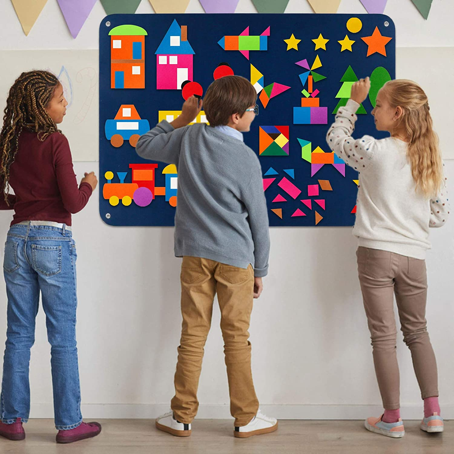 Large Wall Hang Interactive Game Kit Kids Pattern Blocks Felt Flannel-Boards Shapes Colors Sets for Toddlers 144 Pieces Tangram /& Patterns Puzzle Education Toy