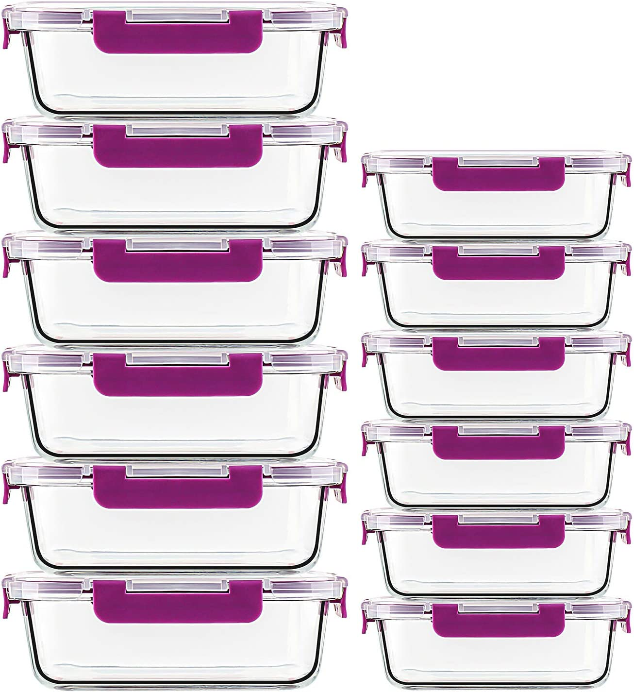 UMI UMIZILI 12 Pack 2 Size (34oz + 12oz) Glass Food Containers with Lids, Airtight Meal Prep Containers for Lunch, Leftover, Safe for Fridge to Microwave, Oven, Dishwasher (Purple Glassware Set)