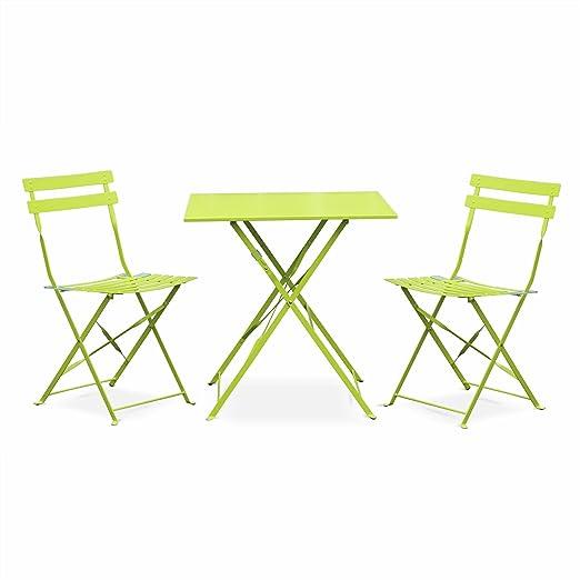 Salon de Jardin bistrot Pliable - Emilia carré Vert anis - Table carrée  70x70cm avec Deux chaises Pliantes, Acier thermolaqué, chaises avec Lames  ...