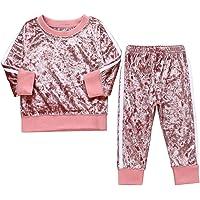 Tabpole Küçük Çocuk Kız Moda Giysiler Uzun Kollu Kadife Gömlek Üst+Pantolon Eşofman Takımı