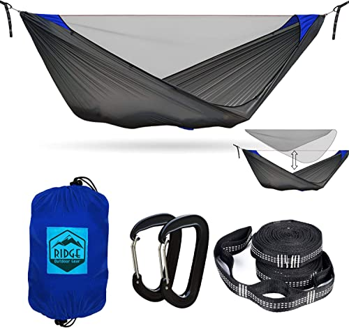Ridge Outdoor Gear Camping Hammock with Mosquito Net – Pinnacle 360 11 ft – Ultralight Hammock Tent Bundle with Bug Netting, Straps, and Carabiners Fully Removable Net