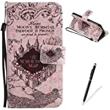 """iPhone 6/6s 4.7"""" Case,Feeltech Elegant Premium Flip PU Leather Wallet Cover with Magnetic Closure Stand Function Protective [Free 2 in 1 Stylus] Credit Card Slots Holder and Money Pouch Vintage Retro Cartoon Pattern Design Flip Book Style Cover Case With Hand Strap for iPhone 6/6s 4.7"""" - Castle"""