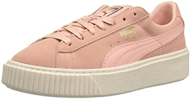 puma basket platform core white damen