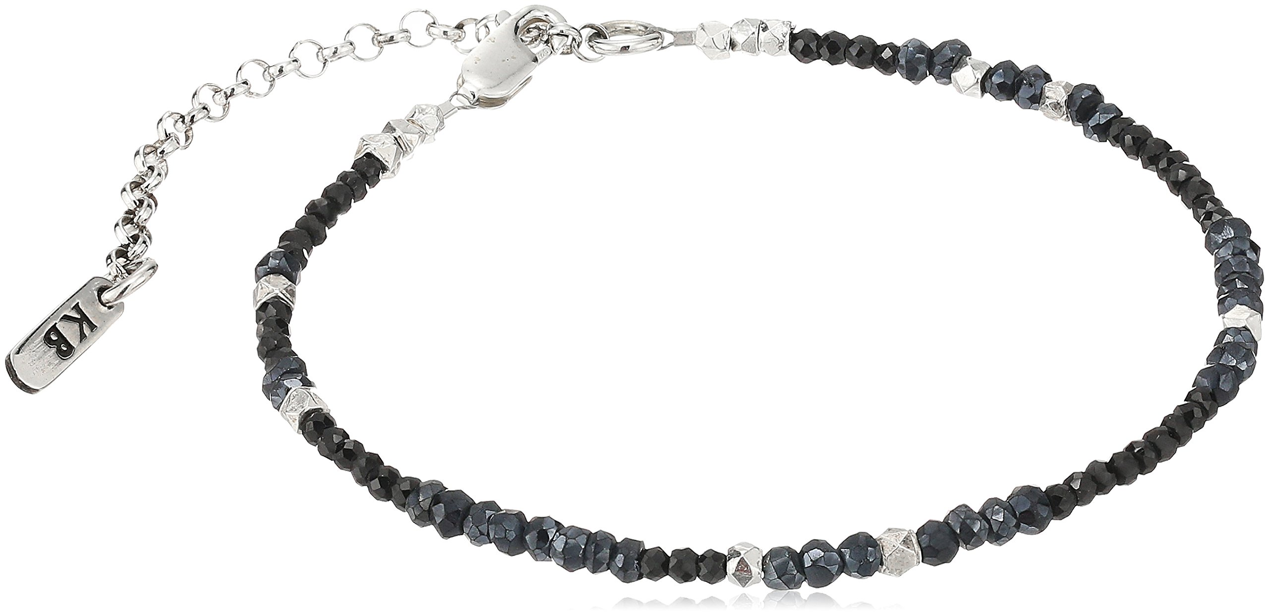 King Baby ''Heartbreaker'' Two Tone Spinel Silver Stations and Extension Chain Anklet