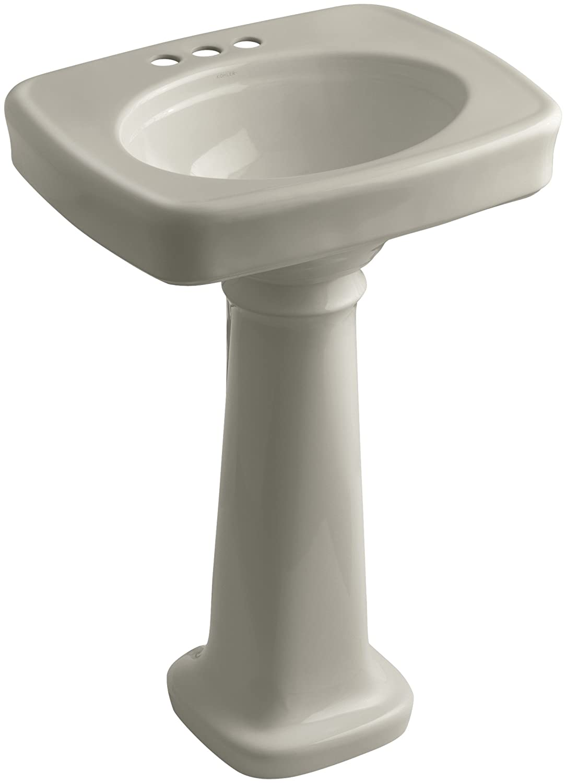 White KOHLER K-2338-4-0 Bancroft Pedestal Bathroom Sink with Centers for 4 Centers