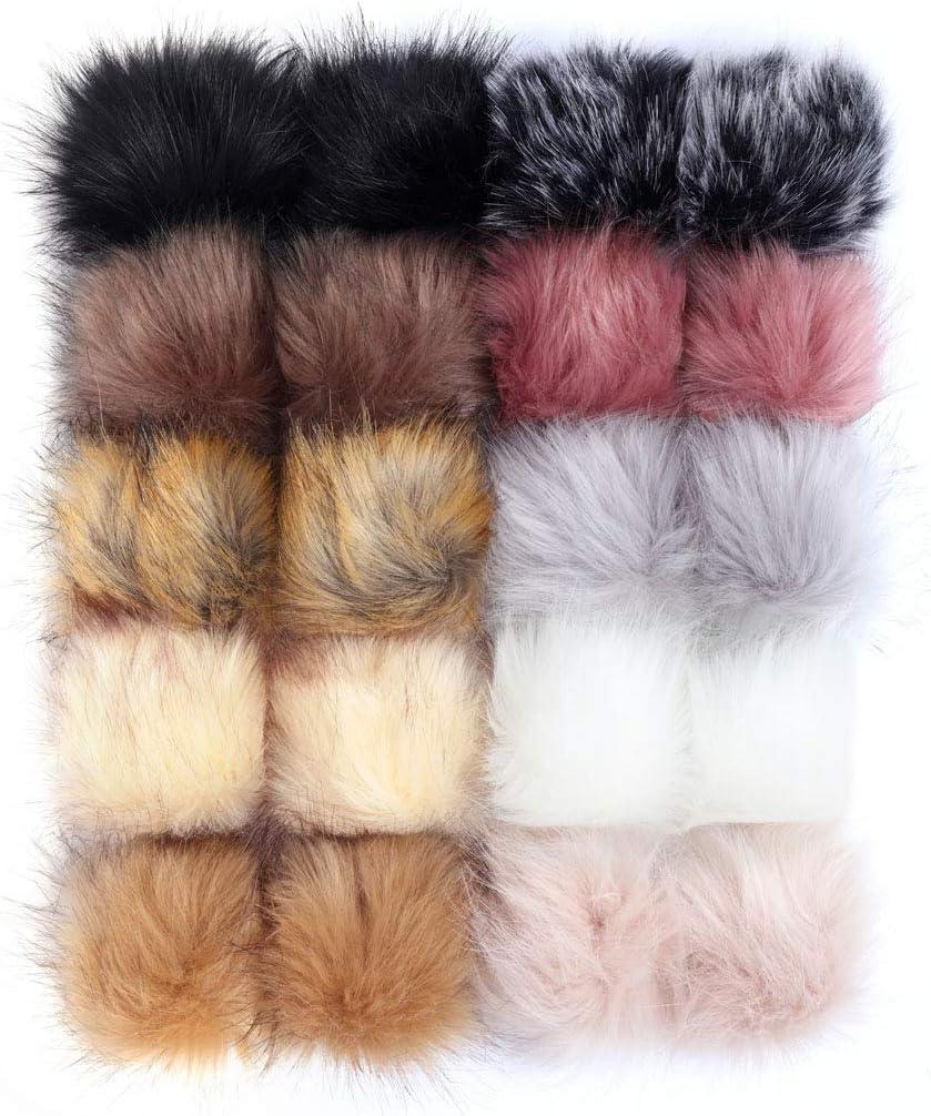 18 Bright Colors, 2 Pcs for Each Color SIQUK 36 Pieces Faux Fur Pom Pom Balls DIY Faux Fox Fur Fluffy Pom Pom with Elastic Loop for Hats Scarves Gloves Bags Accessories
