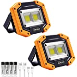 LED Work Light, 2 Pack HOKOILN 2 COB 30W 1500LM Rechargeable Work Light, LED Portable Waterproof LED Flood Lights for…