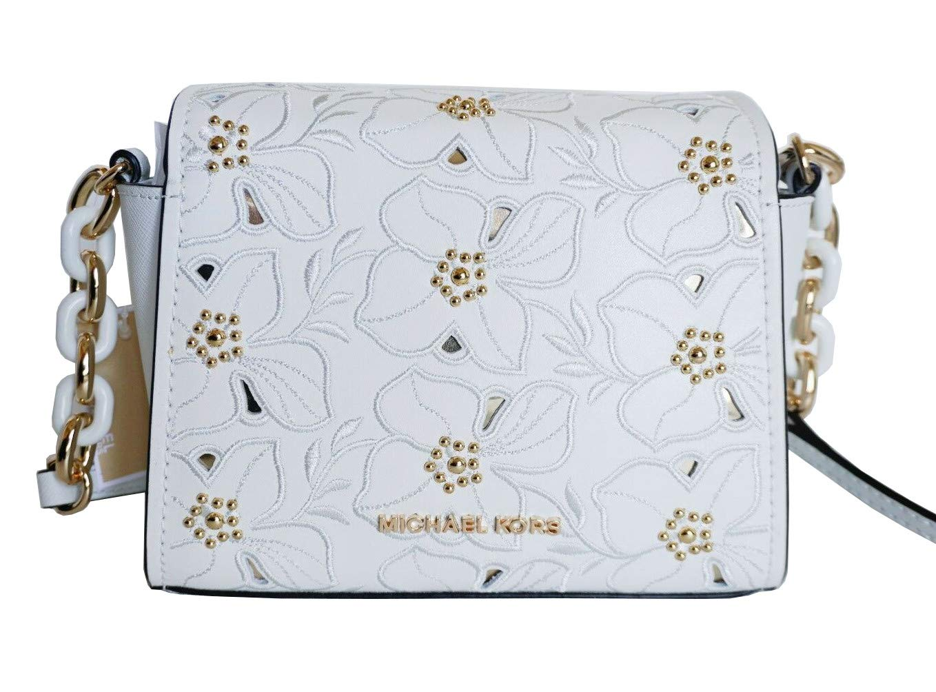 8625bba13215 Michael Kors Sofia Small Leather Perforated Floral Studded Crossbody Purse ( Vanilla)