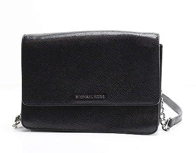 0c48f83ebb98 Michael Michael Kors Daniela Large Gusset Metallic Leather Crossbody Bag in  Black