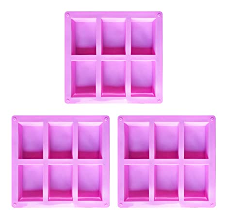 Juego de 3 moldes de jabón rectangulares de Silicona para jabón, Chocolate, Tarta,