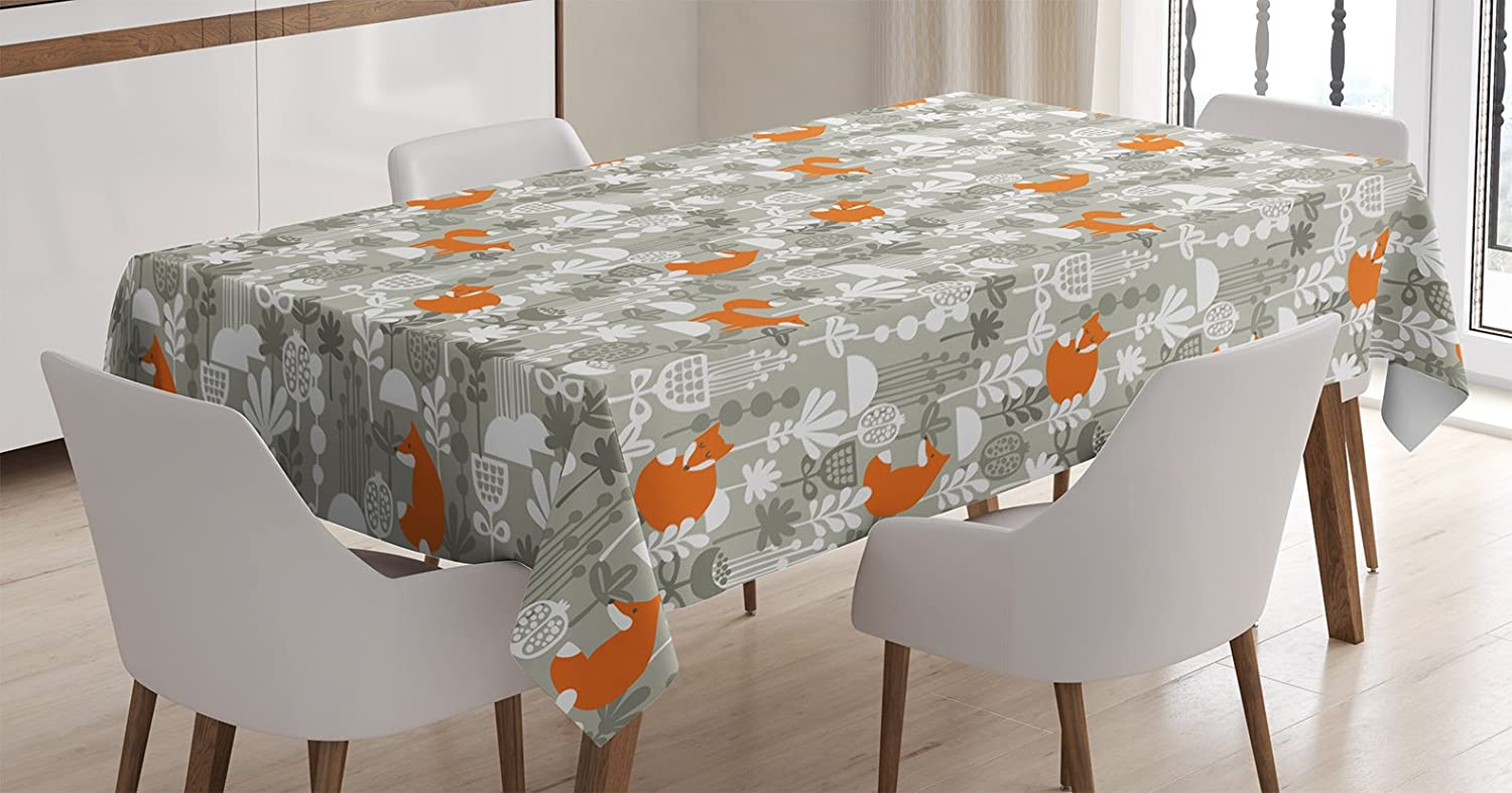 Ambesonne Fox Tablecloth, Fox in The Winter Forest Abstract Cartoon Trees and Nature Animal Decor Pattern, Dining Room Kitchen Rectangular Table Cover, 60 W X 84 L Inches, Sage Green and Orange