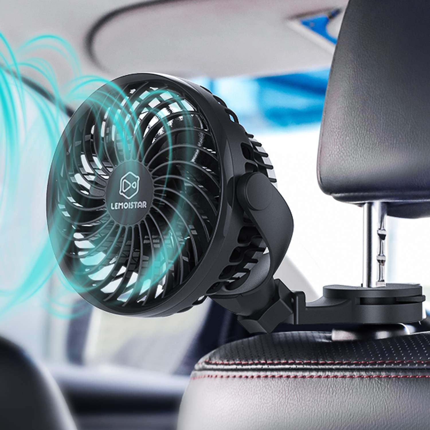 Baby Car Fan, USB & Battery Powered Car Circulator Fan with Multi-Directional Hook, 4 Speed, 360° Rotatation, Personal Cooling Vehicle Fan for Car, Rear&Back Seat Passenger Baby Pet Desk Office Camping