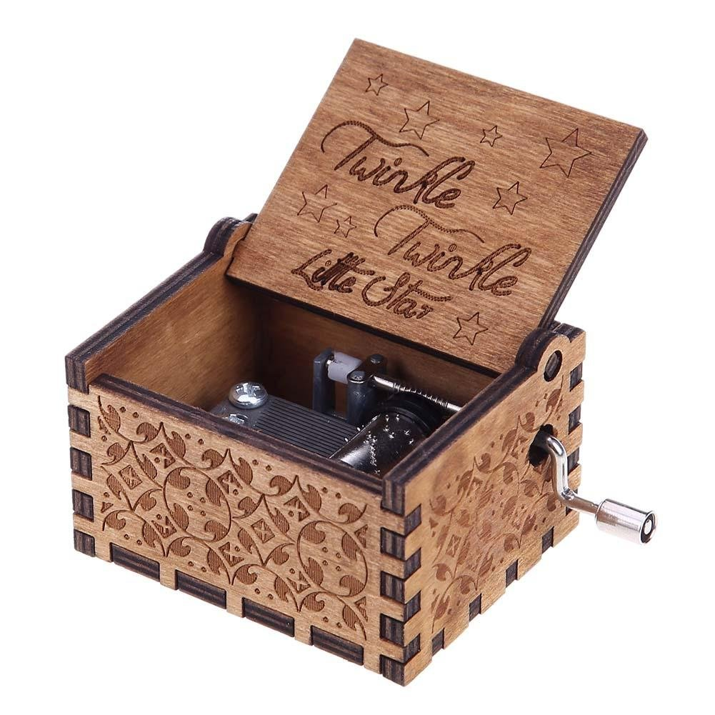 Everpert Antique Carved Wooden Hand Crank Music Box Birthday New Year Decor/Star