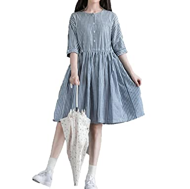 362792e6f2f Small-shop Loose Wild Striped Waist Drawstring Cotton Linen Dress Amoi