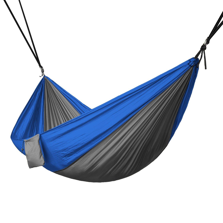 Portable 2 Person, Hängematte Seil Hängen Swing Stoff Camping Bett, Grau & Blau