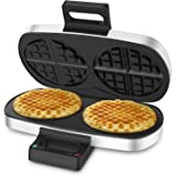 2 Plates Waffle Maker - Elechomes CW1301 2 Plates 8 pcs Belgian Waffle Irons with Nonstick & Easy-to-clean Coating, Mirror Surface and Foldable Handle Compact Design Waffle Machine ( FDA Certified)