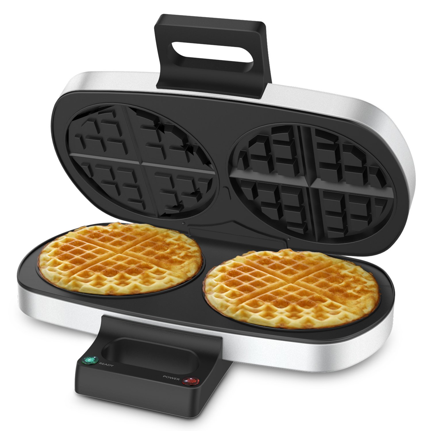 2 Plates Waffle Maker - Elechomes 2-Piece Classic Belgian Waffle Maker with Non-Stick Heating Plates and Mirrior Surface (FDA Certified)