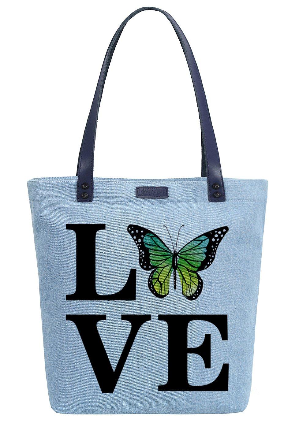 So'each Women's Love Cute Butterfly Denim Dye Handbag Tote Shoulder Shopper Bag