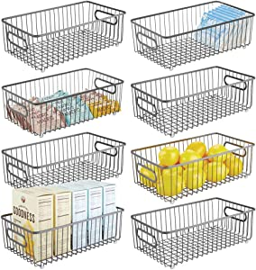 mDesign Metal Farmhouse Kitchen Pantry Food Storage Organizer Basket Bin - Wire Grid Design for Cabinets, Cupboards, Shelves, Countertops - Holds Potatoes, Onions, Fruit - Long, 8 Pack - Graphite Gray