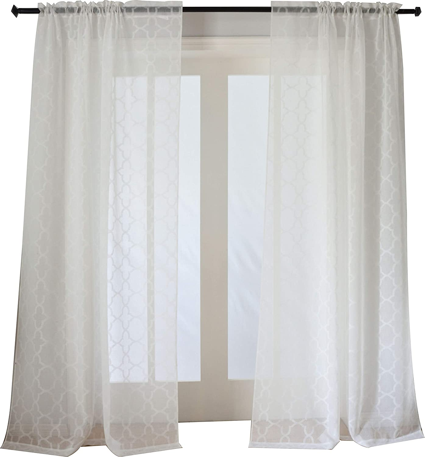 Taisier Home Off White Sheer Curtains Trellis Design Rod Pocket Semi Sheer Panels 63 Inches Long for Nursery, Geometric Sheer Curtains 2 Panels Set