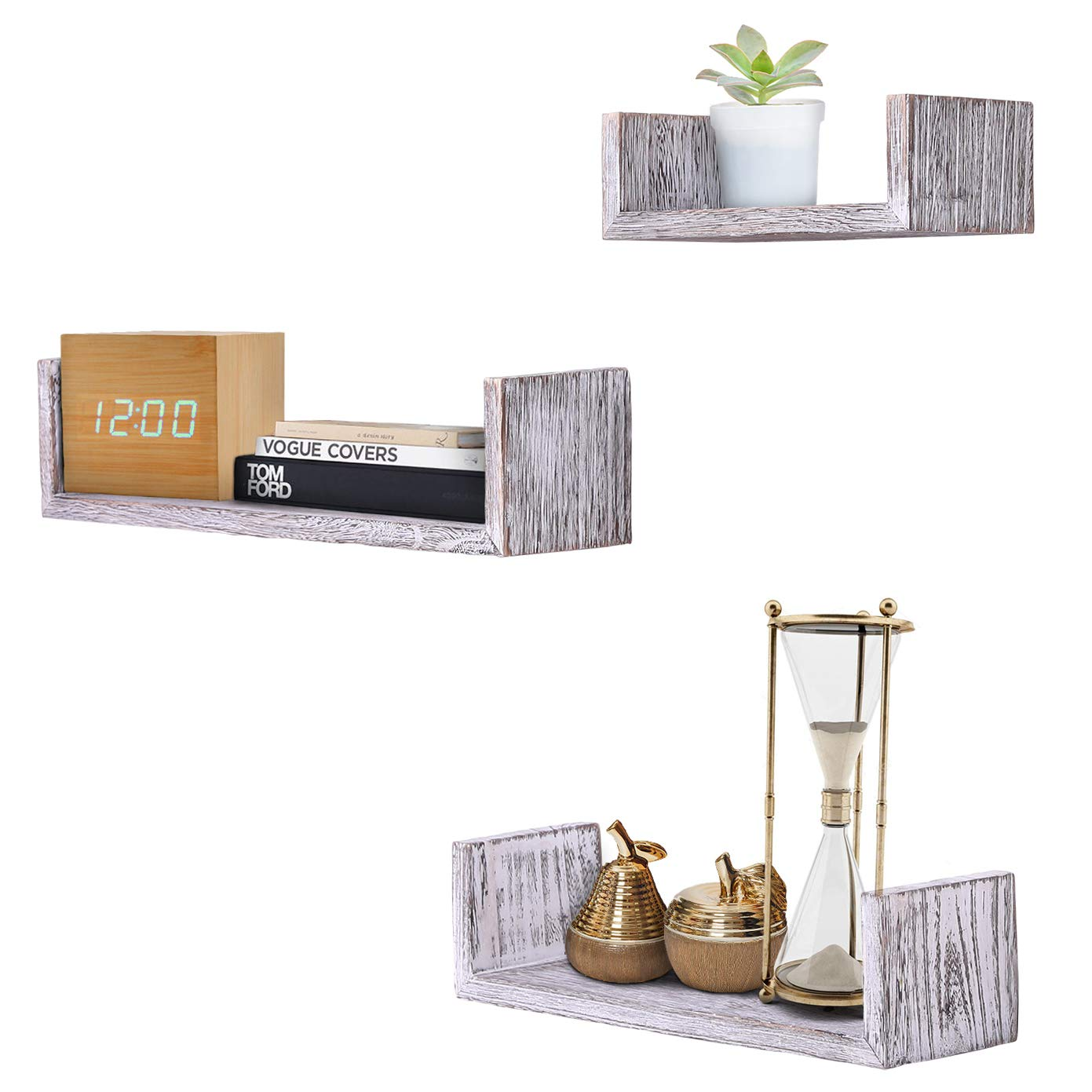 Large Rustic Wall Mounted U-Shaped Floating Shelves Set of 3 medium and Small Farmhouse Shelves for Bedroom Rustic White Screws and Anchors Included Wall D/écor Living Room and more