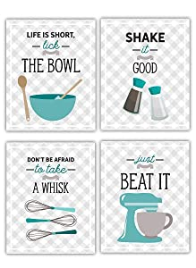 Teal Blue Retro Vintage Kitchen Wall Art Signs - Set of 4-8x10 UNFRAMED Gray, Teal & White Kitchen Utensil Prints Perfect for Rustic, Modern Farmhouse, Mid-Century,Country Decor.