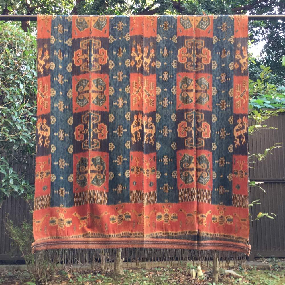 イカット スンバ島 インドネシアの本物 アンティーク 絣織物 型番1009   B07L1MSKDQ