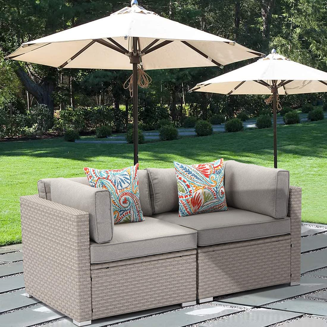 HOMPUS 2-Piece Outdoor Furniture All Weather Patio Handwoven Loveseat w Warm Gray Seat Cushions, 2 Bohemian Flower Pillows for Garden, Pool, Backyard
