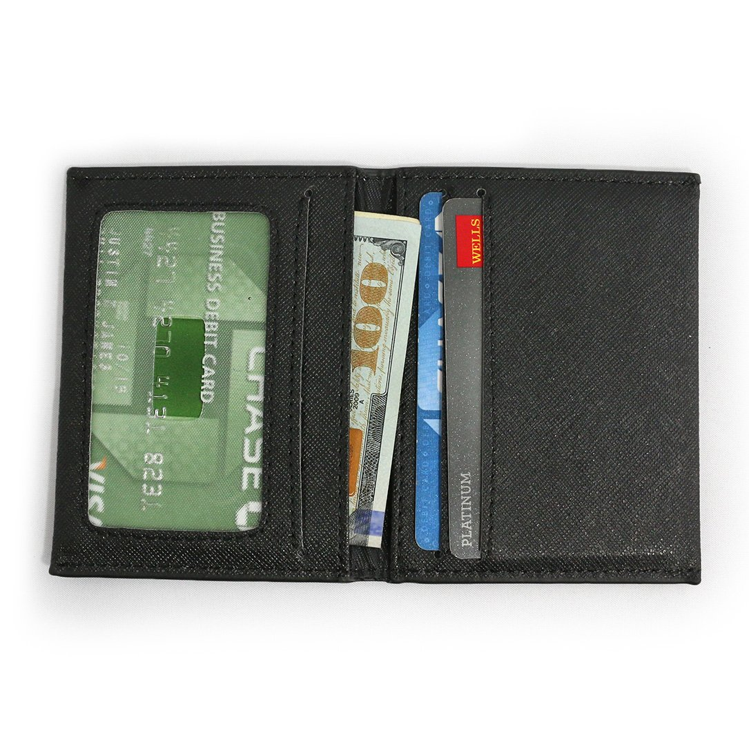 "DASH Co. Slim Bifold Wallet • ID Window • Front Pocket • Compact Minimalist, Black, 3"" x 4"" x 1/4"""