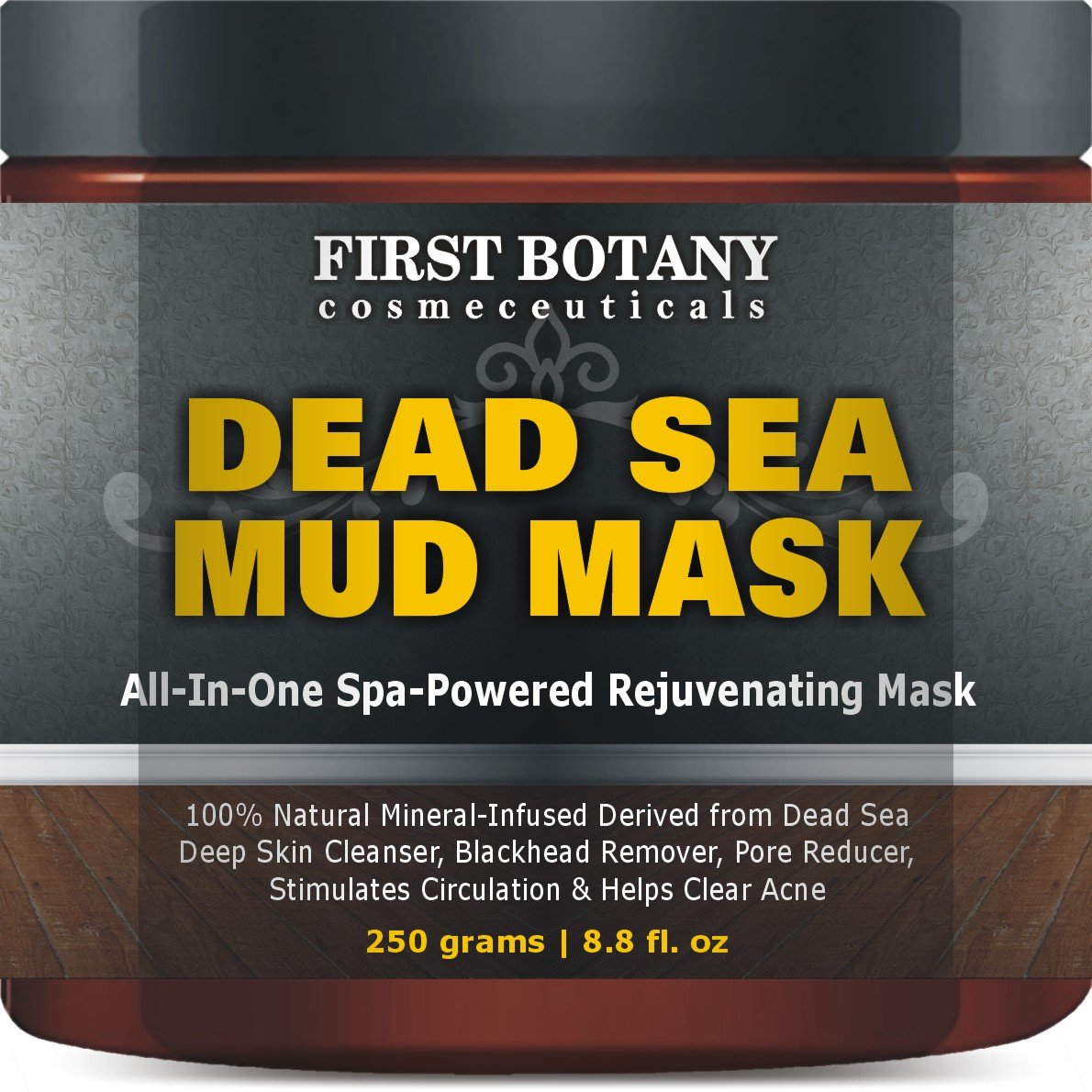 100% Natural Mineral-Infused Dead Sea Mud Mask 8.8 oz for Facial Treatment, Skin Cleanser,...
