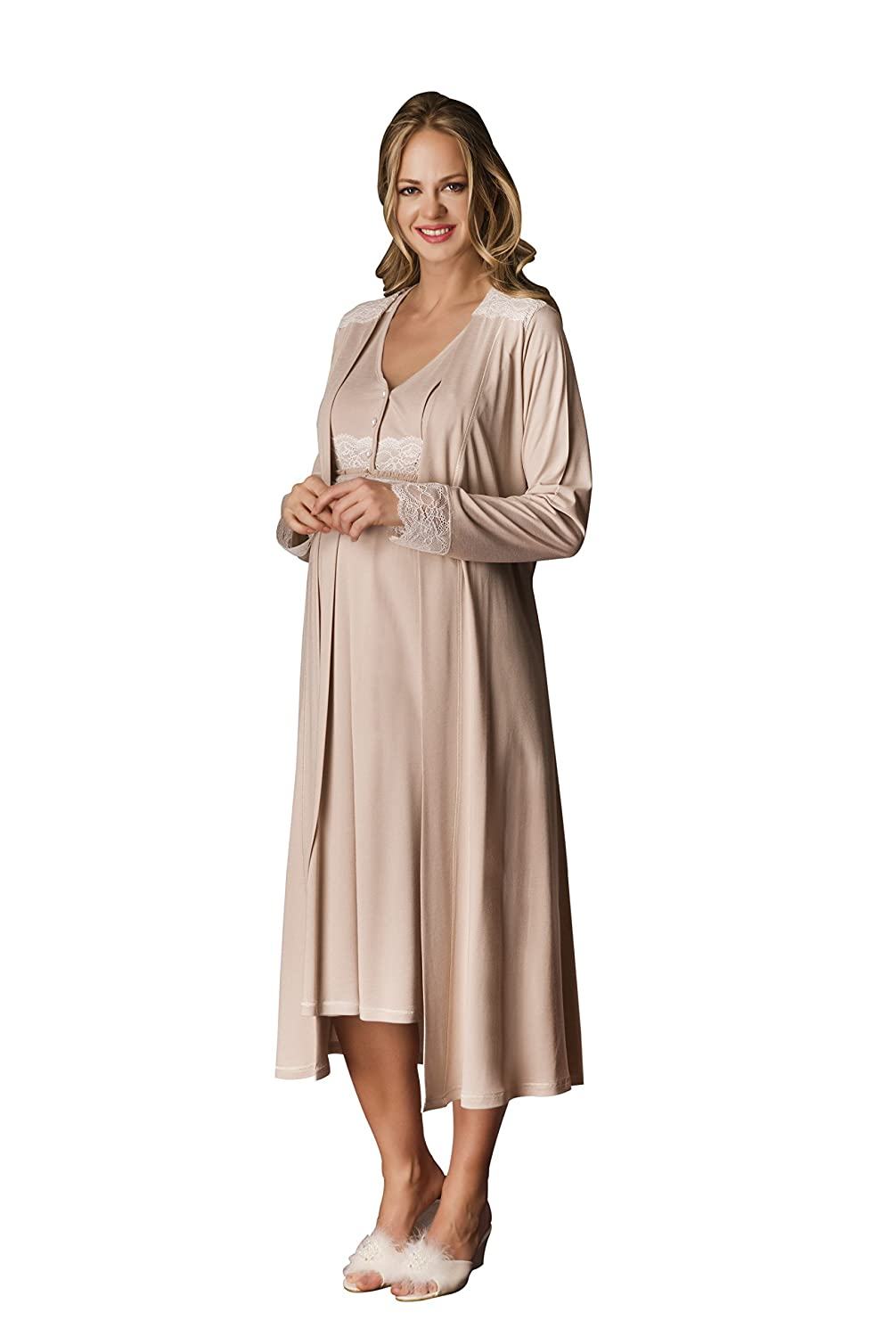 abb3155ee6c MATERNITY AND NURSING  This Elegant Nightgown PJ Set was Specifically  Designed for Expecting   Nursing Moms. Super Soft Dress with Lace Details  and Pearl ...