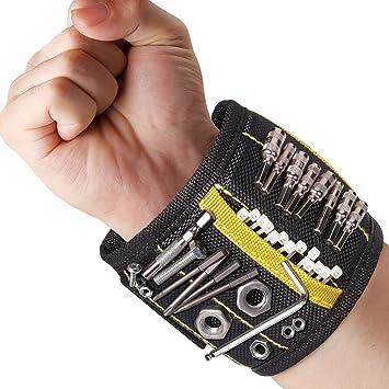 DirkFigge Starke Magnete Armband Papa Einstellbar Magnetisches Armband Ehemann Handgelenk Werkzeughalter M/änner