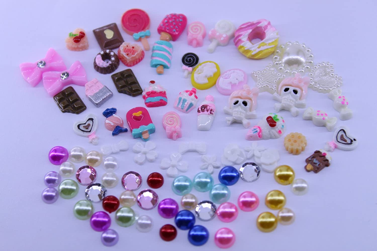 100pcs Candy 3D Nail Art Decal Pearl Chocolate Cake Ice Cream Lollioio Donut by Etopsell
