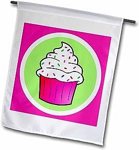 3dRose Janna Salak Designs Sweet Treats - Cute Cupcake White Frosting with Sprinkles - Kawaii Cakes - Pink - 18 x 27 inch Garden Flag (fl_43129_2)