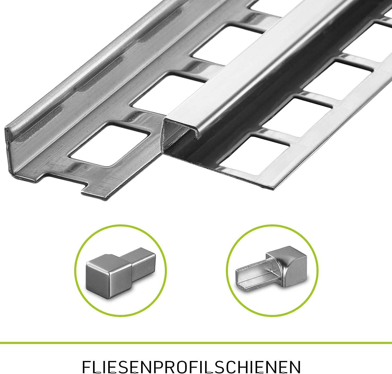 10 mm I Edelstahl imitiert gl/änzend HORI Fliesenprofil I L/änge 1,00 m I Au/ßen-//Innenecke quadratisch I H/öhe