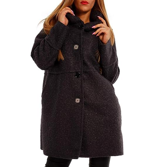 Damen Oversized Jacke Herbst Winter Mantel mit Schalkapuze Brit Chic Wollmantel Jumper